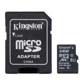 Kingston Class 10 8GB 16GB 32GB 64 GB MicroSD TF Flash Memory Card 48 Mo/s vitesse maximale avec adaptateur carte