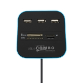 USB 2.0 Hub Combo TF SD MMC M2 MS Leitor de cartão All In One Plug and Play 3 portas 4 Slots Blue