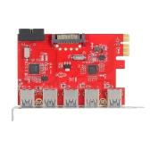 PCI-E para USB 3.0 Placa de expansão Express para 5 portas Mini PCI-E Adaptador de adaptador USB 3.0 com conector interno USB 3.0 19Pin e conector de alimentação 15Pin