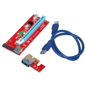 VER007S 0.6M PCI-E Adapter do 1X do 16X Riser Karta PCI Express Adapter USB 3.0 15Pin Profesjonalny zasilacz SATA do Bitcoin Mining Machine Red