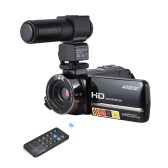 "Andoer HDV-3051STR portátil 24 mega píxeles cámara de vídeo digital 1080p Full HD con Night-shot Digital Camcorder 3.0 ""Rotatable pantalla táctil LCD 16x zoom digital con Hotshoe con M101 micrófono estéreo de vuelta Electret condensador de grabación de vídeo Entrevista micrófono"