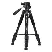 "ZOMEI Q111 142cm / 56 ""Trípode de viaje de cámara de aleación de aluminio portátil ligero con placa de liberación rápida / Soporte del teléfono / Bolsa de transporte para Canon Nikon Sony DSLR Smartphone"