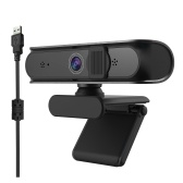 Full HD 5MP Autofocus Webcam grandangolare Microfono digitale integrato Videocamera HD Plug & Play USB per laptop Desktop Nero