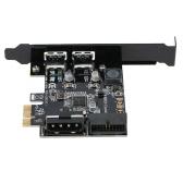 STW PCI-E para USB 3.0 Cartão PCI Express de 2 portas Mini PCI-E Adaptador de controlador de hub USB 3.0 com conector interno USB 3.0 de 19 pinos e conector de porta dupla macho de 5 V 4 pinos macho