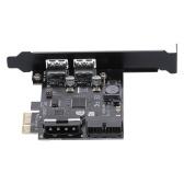 STW PCI-E a USB 3.0 Scheda PCI Express a 2 porte Mini adattatore PCI-E USB 3.0 Hub Controller con connettore a 19 pin USB 3.0 interno e connettore a doppia connessione a 5 pin a 4 pin maschio