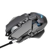 ZERODATE X300GY USB Wired Mouse de jogo competitivo Mouse de jogo mecânico Ajustável 4000DPI 7 Botões programáveis Efeito de iluminação LED