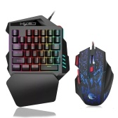 HXSJ J50 One-Handed Gaming Keyboard 35 Keys LED Backlight + Wired Gaming Mouse with Breathing Light 5500 DPI 7 Button Keyboard and Mouse Combo