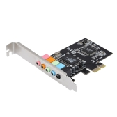 PCI-E Express Card 5.1 Sound 5 Port Sound Card Stereo Surround Sound Card for Desktop Black