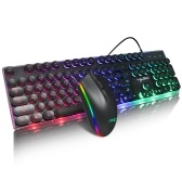 HXSJ V300 USB Wired Gaming Keyboard Backlight Steampunk Keys + Wired Gaming Mouse Anti-Slip 1600DPI with Backlight Keyboard and Mouse Combo