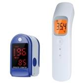 P30 Бесконтактный ИК-инфракрасный термометр + светодиодный монитор кислорода в крови Быстро считывающий пульсоксиметр пальца Синий