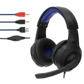 3.5mm Stereo Gaming Headphone Super Bass on Ear Headset Luz LED azul com microfone para PC Laptop