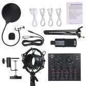 Microphone à condensateur professionnel Microphone d'enregistrement pour enregistrement avec carte son avec 12 modes de sons et effets pour PC et téléphone mobile
