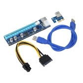 008C USB 3.0 PCI-E PCI Express Extension Cable 1X to 16X Extender Riser Mining Dedicated Graphics Card Adapter with SATA 15Pin-6Pin Power Cable LED Indicator