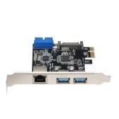 PCI-E zu USB3.0-Erweiterungskarte 2 USB3.0-Ports 4Pin-Netzteil und Gigabit-Hochgeschwindigkeitsnetzwerk Unterstützung für PCI-E 1x / PCI-E 4x / PCI-E 8x / PCI-E16x