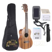 "KAKA KUC-70 23"" Solid Koa Top Side Ukulele 4 Strings Green Shell Inlay Rosewood Fretboard with Gig Bag Tuner Strings Set Cleaning Cloth Neck Strap"