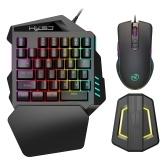 HXSJ A867 Проводная эргономичная игровая мышь с RGB-подсветкой V100, 35 клавиш, Игровая клавиатура для одной руки, Портативная клавиатура P6, конвертер для мыши, комбинированный