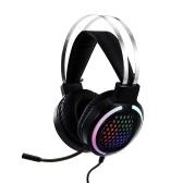 Auriculares con cable Auriculares para juegos Auriculares con luz RGB de colores con micrófono de reducción de ruido de 360 ° 3.5 mm + USB para PC Laptop Negro