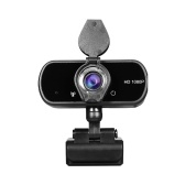 HD 1080P USB Webcam with Privacy Cover Manual Focus Video Conference Camera Built-in Microphone for Laptop Desktop Black