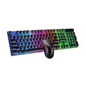 D290 combiné clavier et souris avec filaire 104 touches rétro-éclairage clavier Punk filaire souris 3D colorée pour ordinateur portable / PC noir