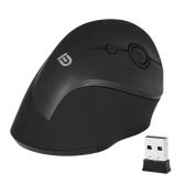 FD 2.4G Wireless Mouse USB Receiver Ergonomic optical mouse vertical com 3 DPI ajustável para PC Laptop Desktop Black Grey with White