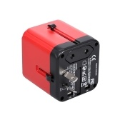 Travel Adapter Universal Travel Adapter Conversion Plug Safety Wall Charger with EU/US/UK/AU Plug USB Type-C Ports Red+Black