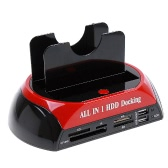 "All in 1 HDD Docking Station e-SATA Hub Card Reader 2.5 ""3.5"" Dual Slot USB 2.0 SATA IDE con One Touch Backup"