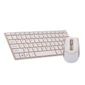 2.4G Mini tastiera e mouse combinati wireless combinati per tastiera e mouse con pannello in lega di metallo per PC laptop Gold
