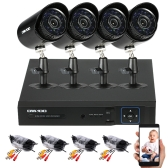 OWSOO 4CH H.264 Full 1080N DVR + 4 * 1500TVL Waterproof CCTV Bullet Camera + 4 * 60ft Cabo de vigilância