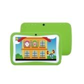 Q728 Quad Core 7inch Tablets PC WIFI Lerncomputer für Kinder Kinder Android 4.4 mit Silikonhülle Grün UK Stecker