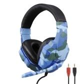 SY830MV Fone de ouvido de camuflagem e efeito de som para jogos Fone de ouvido estéreo de 3,5 mm para jogos com microfone 40 mm cinza