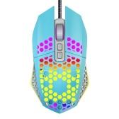 Souris de jeu filaire RVB rétroéclairée 8000 DPI 7 boutons programmables 6 niveaux de DPI réglables Bouton retour au bureau, rose