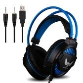 Ovann G1 Profesjonalne Esport Stereo Gaming Headset Słuchawki douszne Bass Powyżej uszu 3.5mm i USB Wired z mikrofonem lampa LED na PC komputerze przenośnym