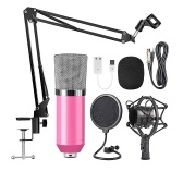 Professional BM700 Condenser Microphone Sound Recording Microphone Mic KTV Singing Studio Recording Kit Pink