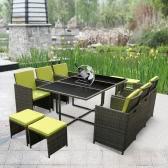 iKayaa 11PCS / 10-osobowa Rattan patio ogrodowe Dining Set Meble Miękkie Outdoor Dining Table Chair Sofa Set ramki żelaza