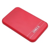 2.5Inch USB3.0 SATA Hard Drive Box SSD External Enclosure Box with USB Cable (Red)