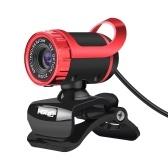 HXSJ LG-68 Desktop-Webcam Eingebaute schallabsorbierende Mikrofon-Videoanruf-Webcam für PC-Laptop Schwarz + Rot