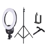 "FalconEyes FLC-55 16 Inch Fluorescent Video Ring Light Lamp 55W 5600K Studio Portrait Photography Lighting with White Filter  +  2m / 6.6ft Photo Studio Light Stand with 1/4"" Screw + Andoer Adjustable Phone Holder Clip with 1/4"" Screw Hole"