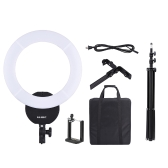 "16 Inch LED Video Ring Light Dimmable Fill-in Light Lamp 32W 3000K-5600K with White Filter Carry Bag for Camera Studio Portrait Photography   +  2m / 6.6ft Photo Studio Light Stand with 1/4"" Screw + Andoer Adjustable Phone Holder Clip with 1/4"" Screw Hole"