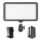 Andoer超薄型スタジオビデオ写真LEDビデオライトパネルランプ3200K / 6000K 20W Dimmable 228pcsビーズ4400mAh充電式バッテリー+キヤノンニコンDSLRカメラDVビデオカメラ用充電器