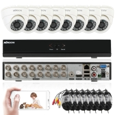 KKmoon 16ch Channel Full 960H / D1 800TVL CCTV Vigilância DVR Sistema de segurança P2P Cloud Onvif Network Digital Video Recorder + 8 * Câmera interna + 8 * 60ft Cable