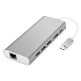 Wielofunkcyjny konwerter USB typu C 4-w-1 Wieloportowy konwerter USB-C USB C do USB3.0 / RJ45 Gigabit Ethernet / Type-C PD / HDMI 4K dla nowego MacBooka i innych urządzeń typu C