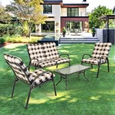 iKayaa Fashion 4 Pieces Cushioned Patio Garden Furniture Sofa Set Tea Table & Chairs Pool Outdoor Conversation Set Steel Frame
