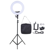 18 Inch LED Video Ring Light Fill-in Lamp Studio Photography Lighting 55W Adjustable Brightness 3200-5500K Color Temperature  with Smartphone Holder Cold Shoe Base Carrying Bag + 2m/6.6ft Light Stand