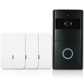 1 * 720P WiFi Telefone de porta de interfone visual + 3 * Campainha de campainha sem fio