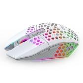 Беспроводная игровая мышь Перезаряжаемая USB-мышь с 8 клавишами Кнопка возврата к рабочему столу 3 регулируемых уровня разрешения 4 режима освещения Белый