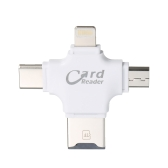 TF Card Reader 4-in-1 TF Memory Card Reader Adapter for iPhone/Android/PC