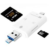 OTG 3 em 1 USB + SD + TF Card Reader Expansão da memória do telefone móvel