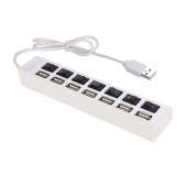 JDL-A7 HUB USB Hub 7 Port USB 2.0 Independent Switch Indicator High Speed Ultra Slim Splitter Hub with USB Cable for Desktop Notebook USB Mouse Scanner Digital Camera U Disk USB Keyboard and more