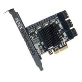 Scheda adattatore PCI-E da 4X a 10 SATA3.0 Scheda di espansione per computer desktop con indicatore di stato a LED Aletta di raffreddamento in lega di alluminio