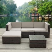 iKayaa Mode PE rotin Wicker Patio Meubles de jardin Sofa Set W / coussins d